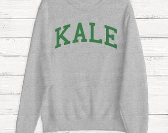 KALE - Women's Sweater - Sweatshirt - Yale - Ivy League - University College - Food -Graphic Sweater - Funny - Humor