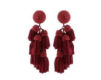 """St. Tropez Tiered Beaded Tassel Earrings; 3.5""""; Easy on the ears!!"""