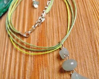 Green Aventurine Carved Merkabah Pendant Cord Necklace