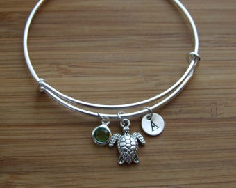 Turtle Gift, Turtle Lover Gift, Bangle Bracelet, Turtle Bangle Bracelet, Initial Birthstone Bracelet, Personalized, Adjustable Bracelet