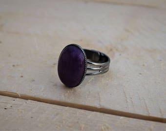 Purple Stone Ring ; Gunmetal Adjustable Ring ; Purple Mountain Jade Gemstone Ring