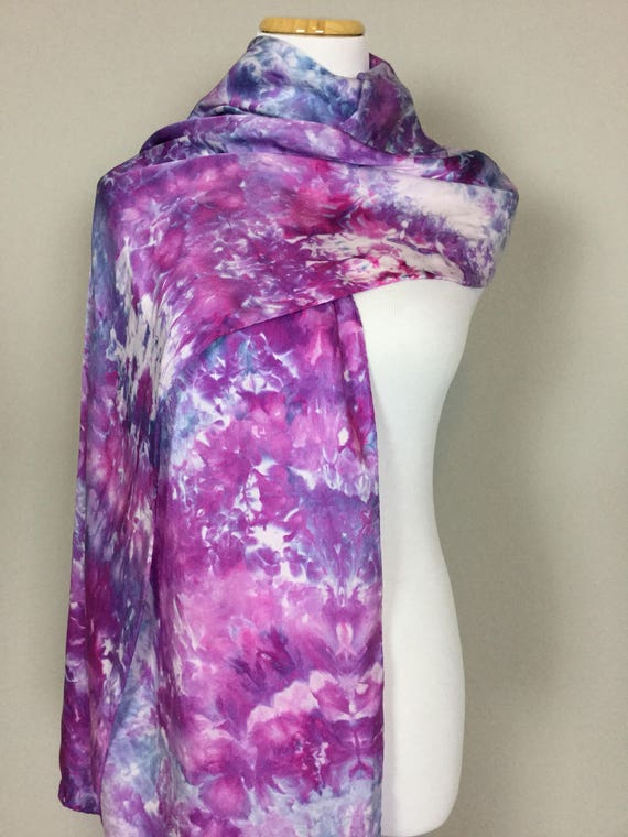 "NEW SIZE 100% Silk WRAP Purple Blue Hydrangea Artistic Floral Watercolor Office Scarf 22""x90"" Elegant Rectangle Office Wrap #188"