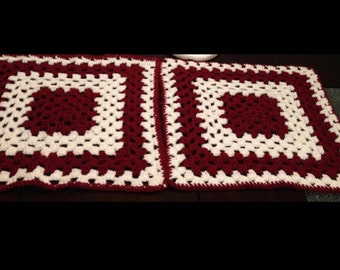 Red and White Crochet Decor