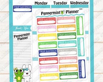 Trip Savings --- Planner Stickers --- 590