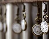 Tiny pocket watch earrings, steampunk earrings, clock earrings, steampunk jewelry