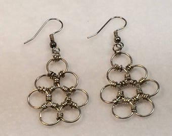 Chainmaille Flower Earrings