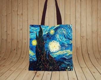 Starry Night By Vincent Van Gogh painting, Printed tote bag