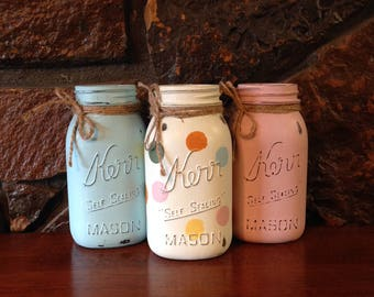 Painted QUART mason jar set; polka dot mason jar, painted mason jars, mason jar decor, polka dots, shabby chic decor, baby shower
