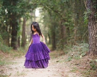 Purple Junior Bridesmaid Dress, Boho Flower Girl Dresses, Fall Maxi Dresses, Bohemian Floral Lace Maxi Dress, Plum Dress, Vintage Maxi Dress