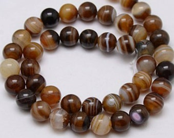 Natural Brown Striped Agate Round Gemstone 10mm Loose Beads