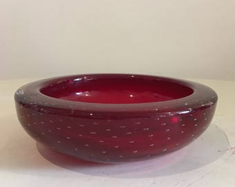 Controlled Bubble Glass Bowl Deep Red Heavy