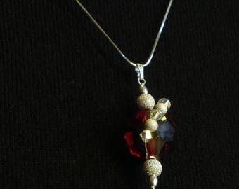 Sterling and Red Czech Crystal Pendant