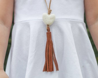 Little girls saddle leather tassel necklace with heart wool felt pom pom