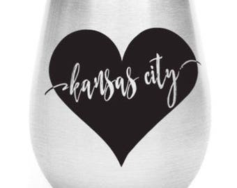Stainless Steel City Heart Wine Glass