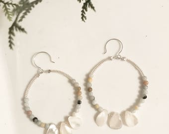 Mother of pearl and apatite handmade silver hoop earrings