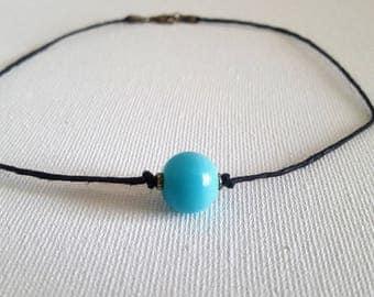 Dainty Blue Beaded Choker Necklace