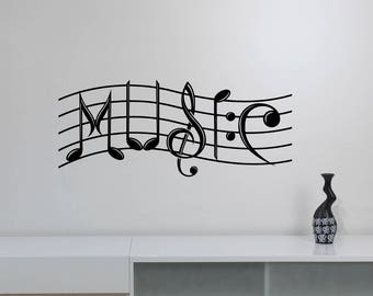 Music Wall Art Decal Treble Clef Notes Keys Vinyl Sticker Creative Musical Sign Word Decorations for Home Room Bedroom Studio Decor mn6