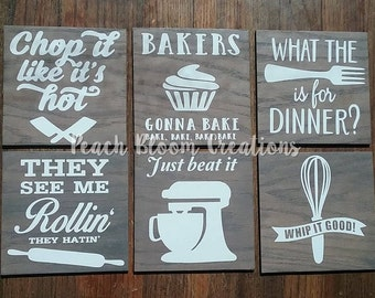 funny kitchen signs set of 6, 8x8   chop it like it's hot, bakers gonna bake, what the fork is for dinner, they see me rollin, just beat it