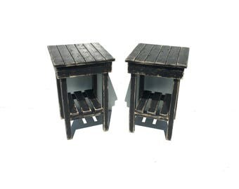 distressed black nightstand set2 distressed end chiccottage chic
