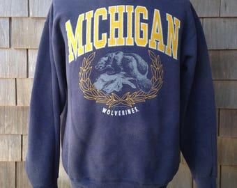 Vintage 80s/90s University of Michigan Wolverines Sweatshirt - Medium
