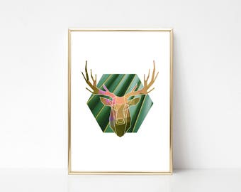 Green Deer Printable Art,Printable Wall Art Print,Geometric Style Print,Abstract Style Print,Green Rose Gold Print,Instant Download