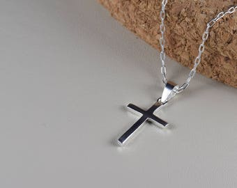 Sterling Silver, Plain cross pendant necklace, everyday wear,