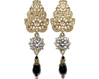 Fashion Gold Filigree Tier Drop Earrings