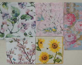 10 Decoupage Napkins,Assorted Floral Napkins,Bird Napkins,Butterfly Napkins,Sunflower Napkins,Peonies Napkins,Paper Craft Supplies,Decoupage
