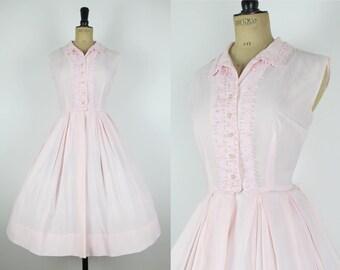 """50s Vintage Chiffon Baby Pink Sheer Shirtwaist Full Skirt Lace Summer Dress Small- 25.5"""" waist"""