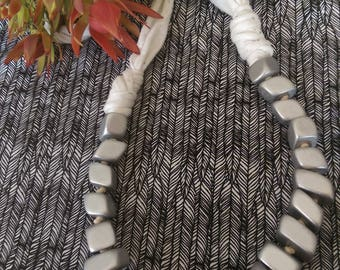 Silver wooden bead and t-shirt yarn necklace