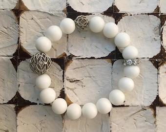 White Stone Beaded Ball Bracelet
