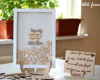 Personalized Cutting Board Wedding Guest Book Drop Box By