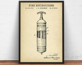 Fire Extinguisher Patent Print, Digital Download, Firefighter Printable, Fire Extinguisher Vintage Wall Art, Fireman Gift, Fire House Decor