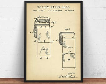 Blueprint art etsy bathroom prints toilet paper patent printable restroom decor lavatory loo poster powder malvernweather Gallery