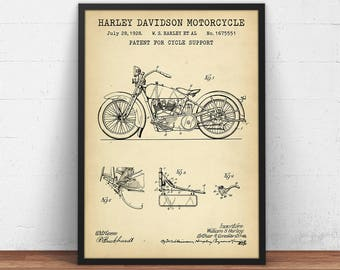 Harley Davidson Motorcycle Patent Print, Motorcycle Poster Printable, Boys Room Decor, Motorcycle Enthusiast Gifts, Motorcycle Blueprint Art