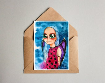 Watercolor postcards, original painting, custom postcards, big eyes painting, special gift for christmas
