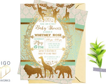 Mint and Gold Safari Baby Shower Invitation, African Animals Printable Party Invitation, Mint Green and Gold foil, Customized Digital Invite