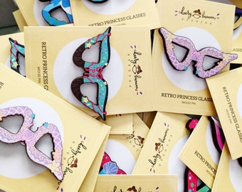 Princess & Villains Retro Glasses WOOD Pins - 20 Different Hand Drawn Designs - Collect all of them!