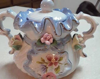Beautiful Vintage Sugar Bowl Blue and White With Raised Flowers