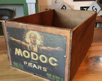 Vintage Wooden Modoc Orchard Company Pear and Fruit Crate