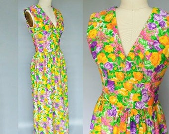 coming up roses / 1970s rainbow floral maxi dress / 0 2 xs xxs