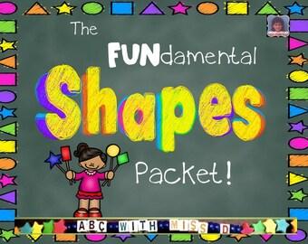 Printable Shapes Workbook! 50 pages of hands-on 2D shape activities for preschool, kindergarten, first grade, teaching, homeschool