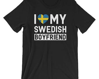 I Love My Swedish Boyfriend T-Shirt - Women's Swedish T Shirt - Flag of Sweden T-Shirt - Swedish Gift Women T Shirts