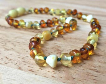 Baltic Amber Teething Necklace - Amber necklace, Baltic amber necklace, baby teething necklace, Baltic teething, teething baby, baby shower
