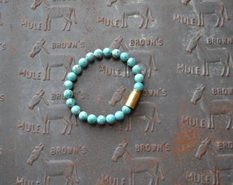 Bullet Casing Bracelet With Turquoise Beads