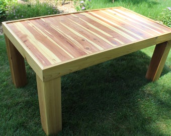 Cedar Coffee Table Outdoor Patio Table Sundeck Deck Table Sunroom Accent Table Cedar Table Cabin Outdoor Lakehouse Rustic Porch