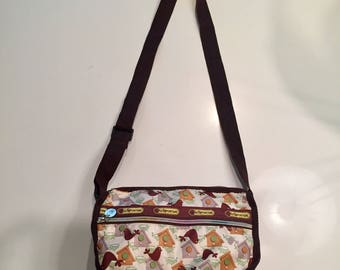 LeSportsac Shoulder/Crossbody Bag with Bird/Birdhouse Pattern