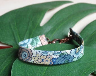 Cuff, Liberty London Elysian S, flowers, blue, green and pink