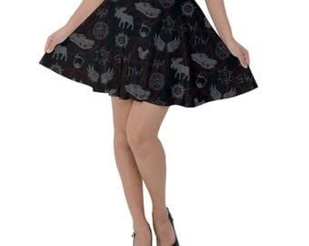 Supernatural Skirt - Supernatural Skater Skirt Moose and Squirrel Skirt Castiel Skirt Idjit Skirt Spooky Sam Dean Skirt Hunter Skirt