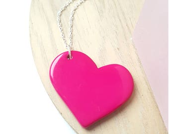 Pink opaque Heart Necklace